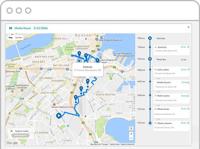 Time and Mileage tracking - map view