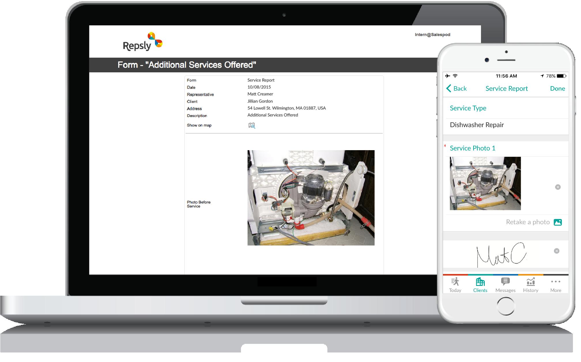 Laptop Screenshot of Appliance Repair Software