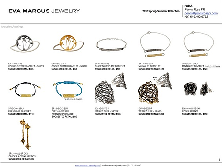 jewelry line sheet example