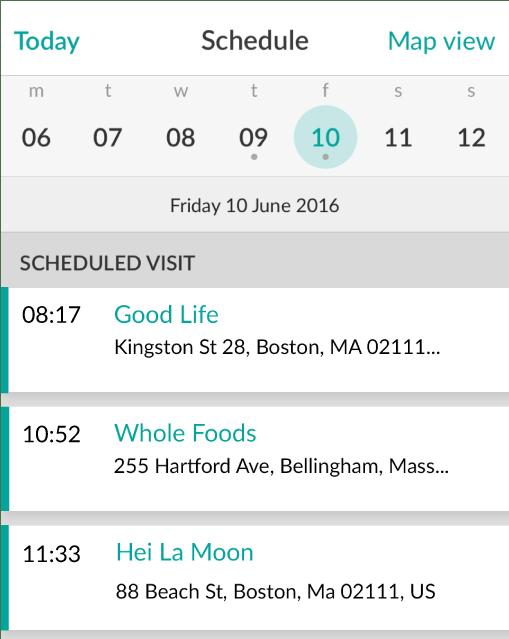 Mobile CRM Visit Scheduling