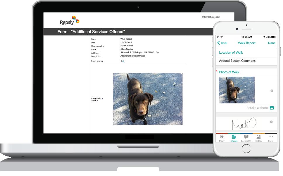 Dog Walking Software Mobile forms