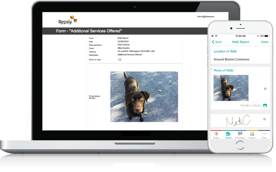 Dog Walking Software Mobile forms